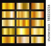 set of gold gradients on black... | Shutterstock .eps vector #583213216
