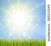 fresh green grass. sunburst... | Shutterstock .eps vector #583213243