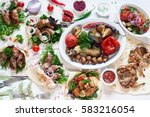 buffet food grill meat lunch... | Shutterstock . vector #583216054