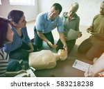 group of people cpr first aid... | Shutterstock . vector #583218238