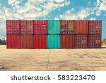 handling stack of container... | Shutterstock . vector #583223470