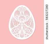 lacy easter egg art on pink... | Shutterstock . vector #583227280
