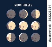 the phases of the moon light... | Shutterstock .eps vector #583228354
