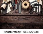 Gardening Tools Dark Wooden Background - Fine Art prints