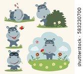 set of funny hippopotamus in...   Shutterstock .eps vector #583230700