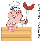 smiling chef pig cartoon mascot ...