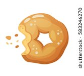 round whole wheat donut with... | Shutterstock .eps vector #583246270