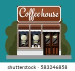 coffeehouse in flat style.... | Shutterstock .eps vector #583246858