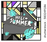 trendy vector summer cards... | Shutterstock .eps vector #583249186