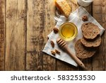 composition with honey  bread... | Shutterstock . vector #583253530