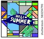 trendy vector summer cards... | Shutterstock .eps vector #583254790