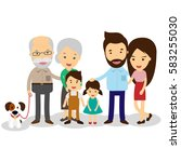 big cartoon family with parents ... | Shutterstock .eps vector #583255030