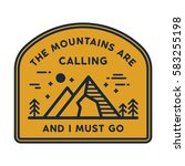 the mountains are calling and i ... | Shutterstock .eps vector #583255198