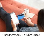 easy to payment shoping online... | Shutterstock . vector #583256050