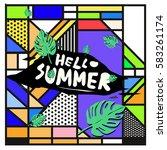 trendy vector summer cards...   Shutterstock .eps vector #583261174