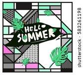 trendy vector summer cards...   Shutterstock .eps vector #583261198