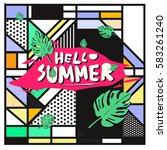 trendy vector summer cards...   Shutterstock .eps vector #583261240