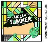 trendy vector summer cards...   Shutterstock .eps vector #583261288