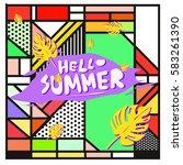 trendy vector summer cards...   Shutterstock .eps vector #583261390