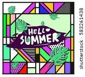 trendy vector summer cards...   Shutterstock .eps vector #583261438