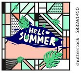 trendy vector summer cards...   Shutterstock .eps vector #583261450