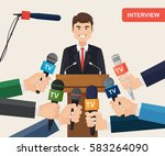 public speaker and hands of... | Shutterstock .eps vector #583264090