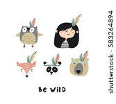 cute animal in boho style.    Shutterstock .eps vector #583264894