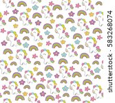 seamless baby pattern with cute ... | Shutterstock .eps vector #583268074
