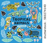 collection of stickers with... | Shutterstock .eps vector #583274140