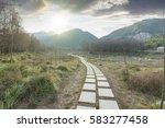 sunset in the woods corridor | Shutterstock . vector #583277458