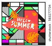 trendy vector summer cards...   Shutterstock .eps vector #583277734