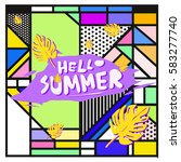 trendy vector summer cards...   Shutterstock .eps vector #583277740