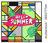 trendy vector summer cards...   Shutterstock .eps vector #583277764