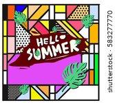 trendy vector summer cards...   Shutterstock .eps vector #583277770