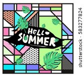 trendy vector summer cards...   Shutterstock .eps vector #583277824