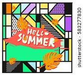 trendy vector summer cards...   Shutterstock .eps vector #583277830