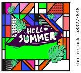 trendy vector summer cards...   Shutterstock .eps vector #583277848