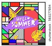 trendy vector summer cards...   Shutterstock .eps vector #583277854