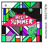 trendy vector summer cards...   Shutterstock .eps vector #583277878