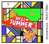 trendy vector summer cards...   Shutterstock .eps vector #583277884