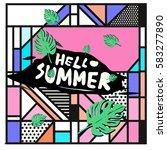 trendy vector summer cards...   Shutterstock .eps vector #583277890