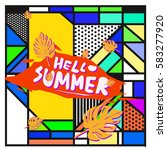 trendy vector summer cards...   Shutterstock .eps vector #583277920