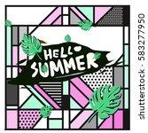 trendy vector summer cards...   Shutterstock .eps vector #583277950