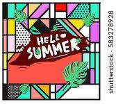 trendy vector summer cards...   Shutterstock .eps vector #583278928