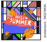 trendy vector summer cards...   Shutterstock .eps vector #583278934