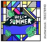 trendy vector summer cards...   Shutterstock .eps vector #583278940