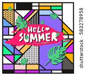 trendy vector summer cards...   Shutterstock .eps vector #583278958