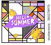 trendy vector summer cards...   Shutterstock .eps vector #583278970