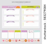 cute calendar daily planner... | Shutterstock .eps vector #583279084