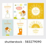 cute card set with spring and...   Shutterstock .eps vector #583279090